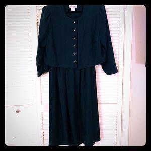 👗NEW VTG PLUS green houndstooth jacket/dress set